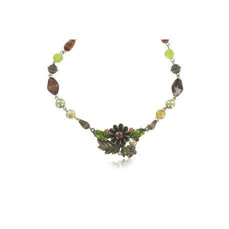 NECKLACES - PLATED: GOLD - IN COLOURS: GREEN, TOPAZ, BROWN