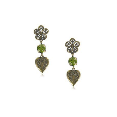 EARRING - PLATED: GOLD - IN COLOURS: GREEN