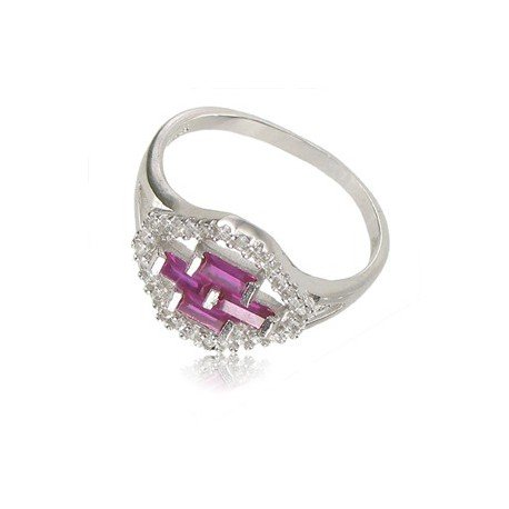 Sortija-Anillo de plata de ley con baño de oro blanco en colores rosa, cristal
