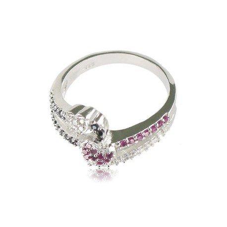 Sortija-Anillo de plata de ley con baño de oro blanco en colores negro, cristal, rosa