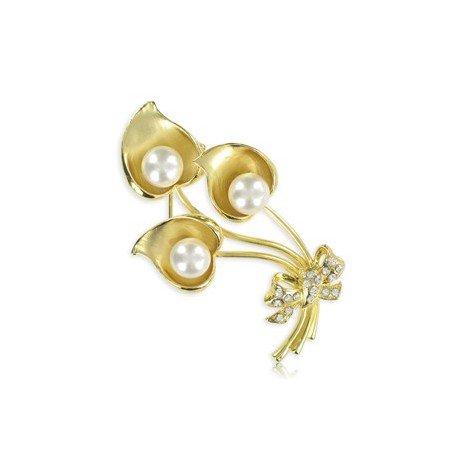 Broche de oro en color cristal. Mediano. Con perlas, cristales