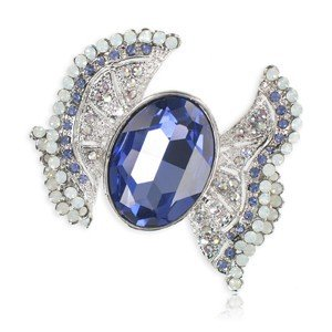 BROOCHES - PLATED: RHODIUM - IN COLOURS: BLUE, PURPLE