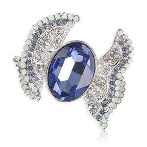 Broche Oro Blanco Cristales Lazo Azul