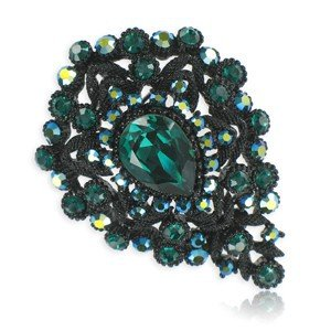 BROOCHES - PLATED: RUTHENIUM - IN COLOURS: GREEN