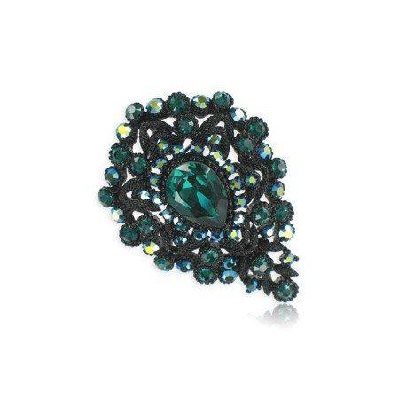 Broche Rutenio Cristales Circonio Verde