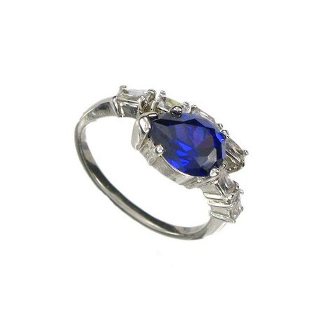 RINGS - PLATED: RHODIUM - IN COLOURS: BLUE, CRYSTAL