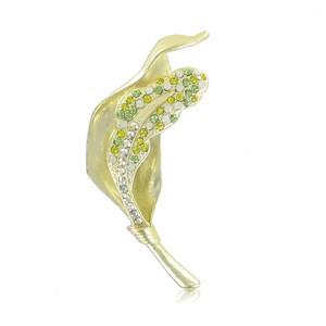 Broche Oro Cristales Verde