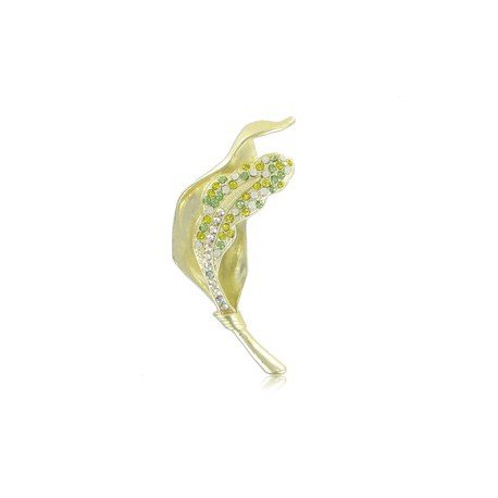 BROOCHES - PLATED: GOLD - IN COLOURS: GREEN