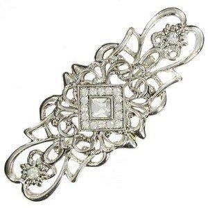 Broche Plata Oro Blanco Cristales