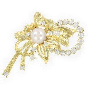 Broche Oro Perla Circonitas