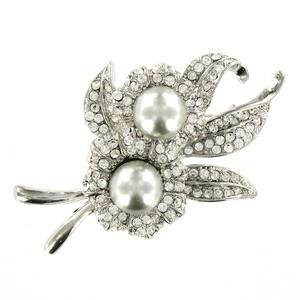 Broche Oro Blanco Cristal Perlas