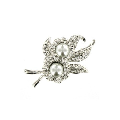 BROOCHES - PLATED: RHODIUM - IN COLOURS: GRAY
