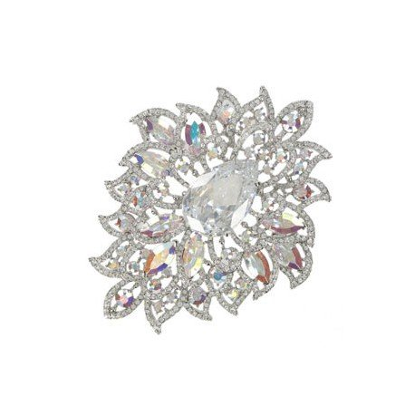 BROOCHES - PLATED: RHODIUM - IN COLOURS: CRYSTAL