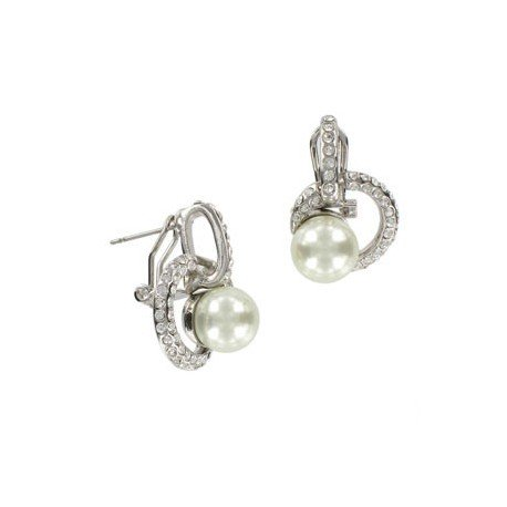 EARRING - PLATED: RHODIUM - IN COLOURS: CRYSTAL