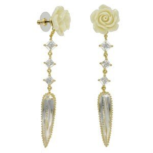 EARRING - PLATED: GOLD - IN COLOURS: YELLOW, CRYSTAL