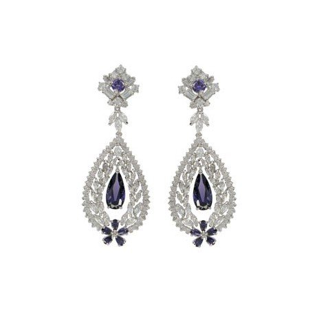 EARRING - PLATED: RHODIUM - IN COLOURS: BLUE, PURPLE, CRYSTAL