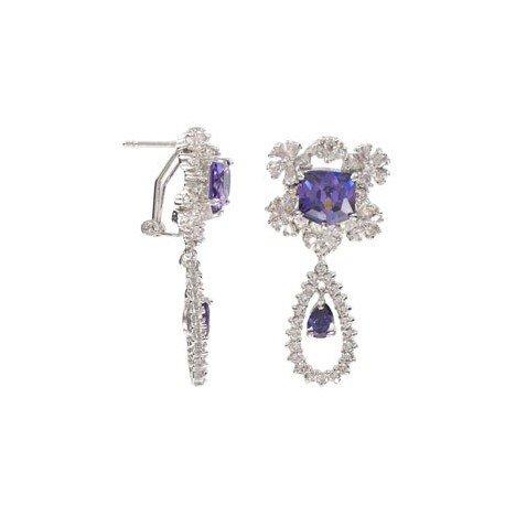 Pendientes de oro blanco en colores azul, cristal, violeta. Medianos