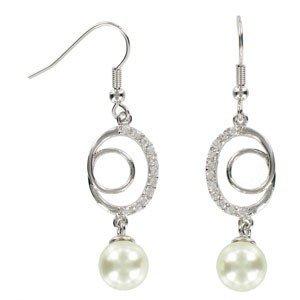 Pendientes de oro blanco. Largos. Con cristales, perlas. Cierre de gancho.