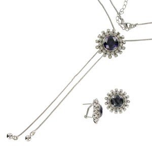 SETS - PLATED: RHODIUM - IN COLOURS: BLACK, CRYSTAL