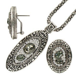 SETS - PLATED: ANTIQUE SILVER - IN COLOURS: GRAY, CRYSTAL
