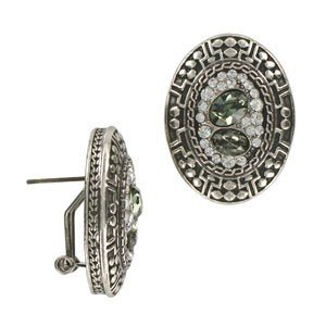 EARRING - PLATED: ANTIQUE SILVER - IN COLOURS: WHITED, GRAY, CRYSTAL