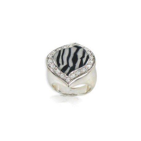 Sortija-Anillo de oro blanco en colores negro, gris, blanco, cristal