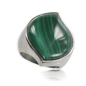 Sortija-Anillo de acero en color verde. Con piedra natural