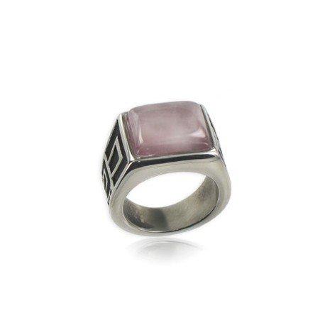 Sortija-Anillo de acero en color rosa. Con piedra natural