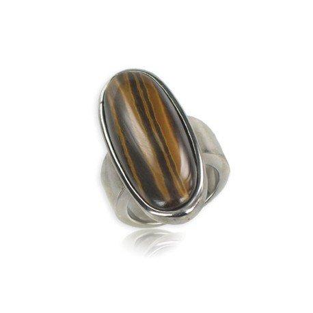 Sortija-Anillo de acero en colores marrón, topacio. Con piedra natural