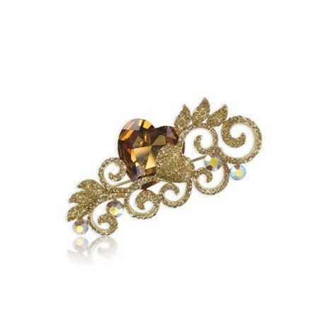 Broche de oro en color topacio. Grande. Con cristales
