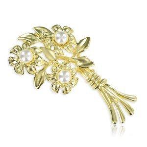 Broche de oro. Mediano. Con perlas