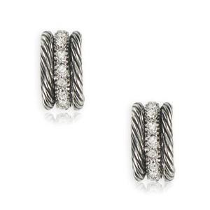 Pendientes de plata antigua en color cristal. Cortos. Con cristales