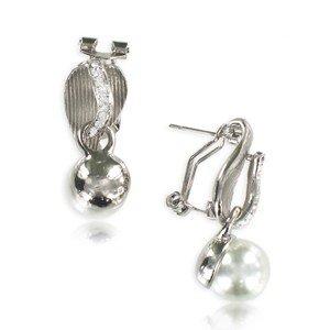 Pendientes de plata antigua en color cristal. Cortos. Con perlas, cristales