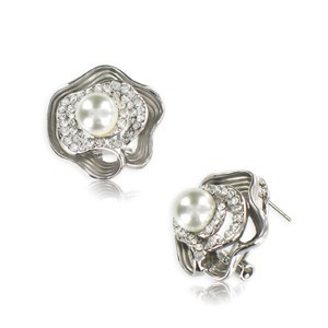 Pendientes de plata antigua en color cristal. Cortos. Con cristales, perlas