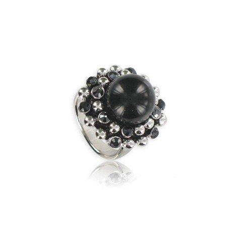 Sortija-Anillo de plata antigua en color negro. Mediano. Con piedra natural