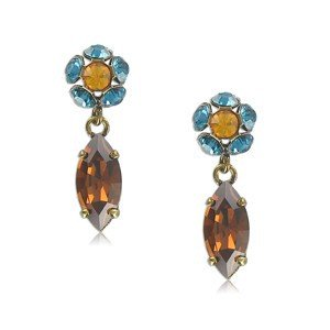 EARRING - PLATED: GOLD - IN COLOURS: BLUE, TOPAZ, BROWN
