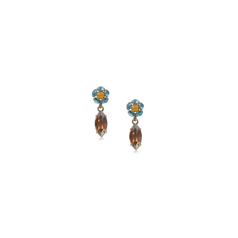 Baño Color Azul Pelo:Pendientes de oro en colores topacio, azul, marrón Medianos Con