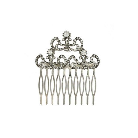 COMBS - PLATED: ANTIQUE SILVER - IN COLOURS: CRYSTAL