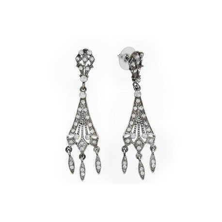 EARRING - PLATED: ANTIQUE SILVER - IN COLOURS: CRYSTAL