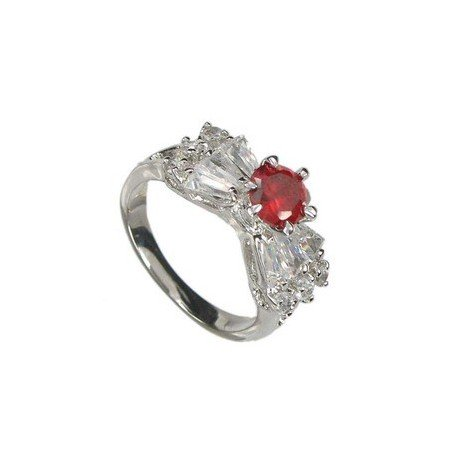 RINGS - PLATED: RHODIUM - IN COLOURS: PREVAILING COLOUR RED, CRYSTAL