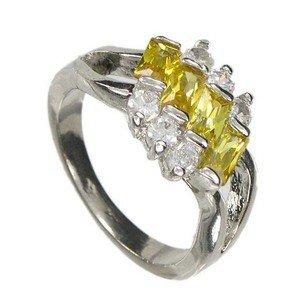Sortija-Anillo de oro blanco en colores cristal, amarillo. Con circonitas