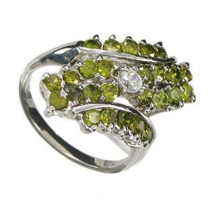 RINGS - PLATED: RHODIUM - IN COLOURS: GREEN, CRYSTAL