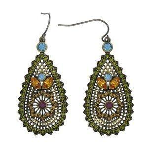 Pendientes de oro en colores verde, topacio, multicolor, azul. Con cristales