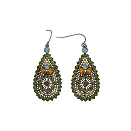 EARRING - PLATED: GOLD - IN COLOURS: GREEN, BLUE, TOPAZ, MULTICOLOR