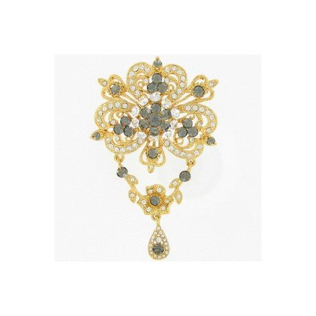 Broche Oro Flor Cristales Gris
