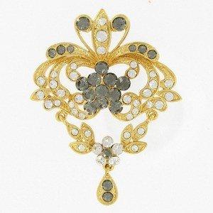 Broche Oro Circonita Cristal Gris