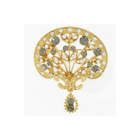 Broche Oro Cristal Gris