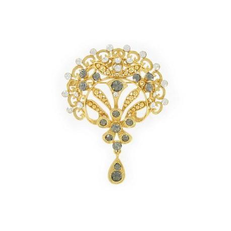 Broche Oro Cristales Gris