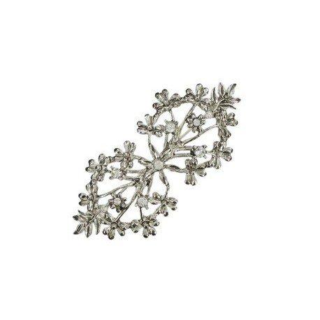 Broche Plata Oro Blanco Cristales Circonitas
