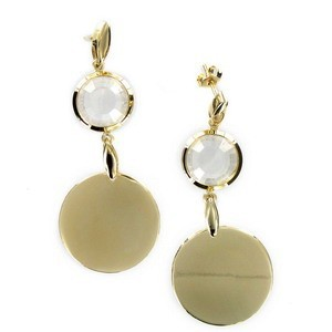 EARRING - PLATED: GOLD - IN COLOURS: WHITED, CRYSTAL